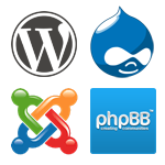 Wordpress, phpBB, Drupal and Joomla management software