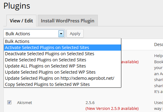 Activate WordPress plugin on many sites