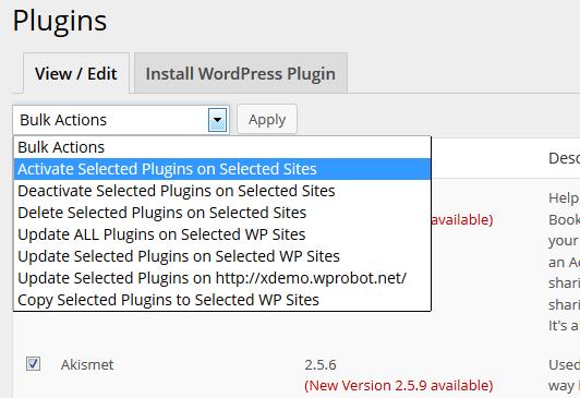 Activate WordPress plugin on many sites