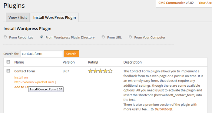 Install WP plugin to many sites