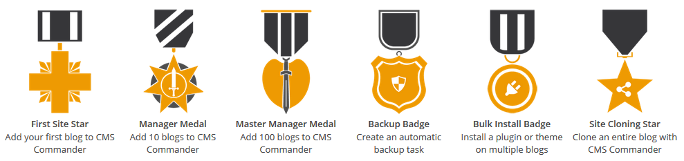 Earn management medals while taking care of your sites!