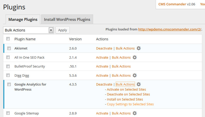 Copy WordPress plugin settings in CMS Commander