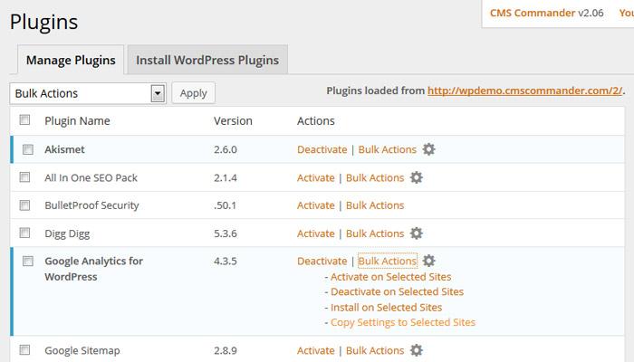 Copy WordPress plugin settings in CMS Commander