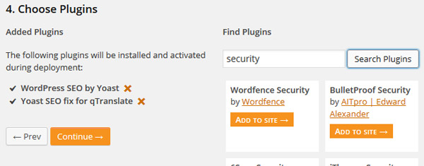 Choose plugins to install on your new site